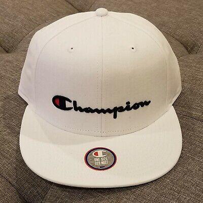 Champion Classic Twill Script Cap / Hat Flatbill BB Snapback, White Classic Tweed Hat