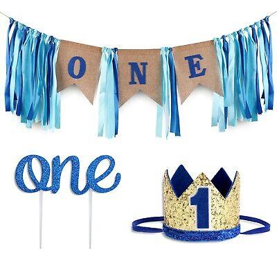 First Birthday Decoration (Baby 1st Birthday Boy Decorations WITH Crown - First Birthday Cake Smash Box)