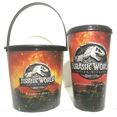 2Pcs Jurassic World 2 Fallen Kingdom Movie Theatres Plastic Cup Bucket Cinemas