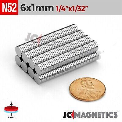 25 100 1000pcs 6mm X 1mm 14x132 N52 Rare Earth Neodymium Small Magnet Disc