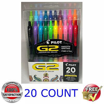 Pilot G2 Premium Retractable Gel Ink Rolling Ball Pen Fine Assorted 20 Count
