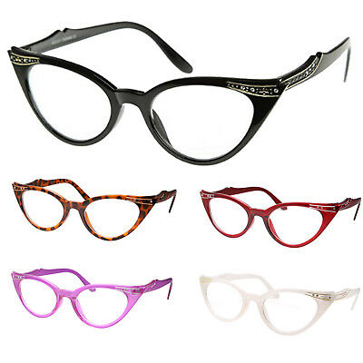 Cat Eye Clear Lens Glasses Rhinestone 50s Vintage Women Retro (Cat Glasses)