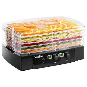 VonShef 6 Tray Digital Food Dehydrator Dryer Machine Fruit Preserver Beef Jerky