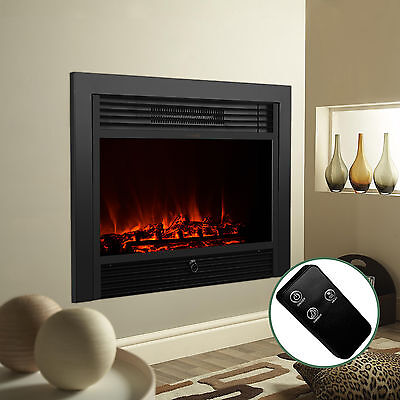 """28.5"""" Embedded Electric Fireplace Insert Heater Glass View Log Flame w/Remote"""