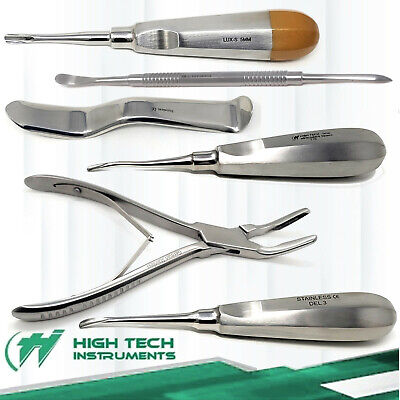 Basic Tooth Extraction Kit Dental Extracting Elevators Rongeur Pliers - 6pcs