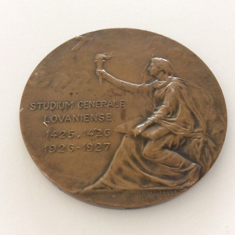 "SIGNED F. VERMEYLEN 2 3/8"" MEDAL A CONDITA UNIVERSITATE ANNO 500 D LOVANIENSE"