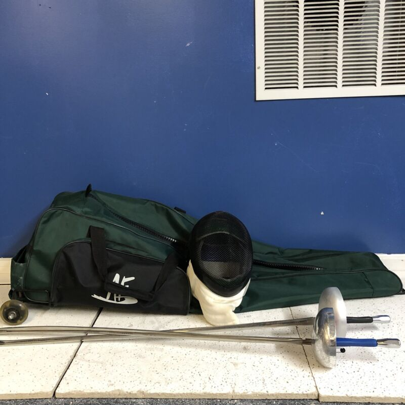 Absolute fencing Rolling Bag And Fencing Gear 2 Swords And A Medium Helmet