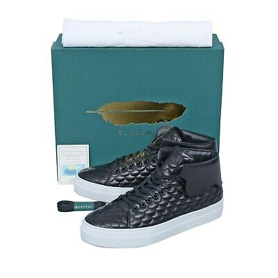 NIB $725 BUSCEMI Italy 90MM Quilt Black Leathers High-Top Sneakers Shoes 43 10