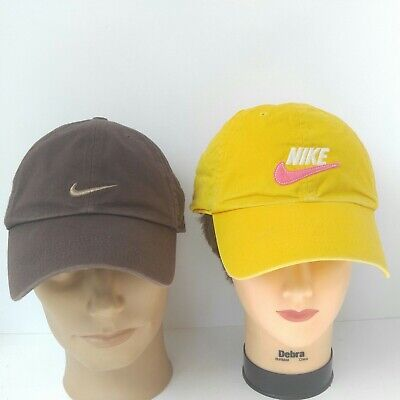 Lot Of 2 Nike Hats 100% Cotton Yellow Brown