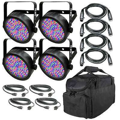 Chauvet SlimPAR 56 LED Par Wash Light Four Pack + DMX & Power Cables + Bag
