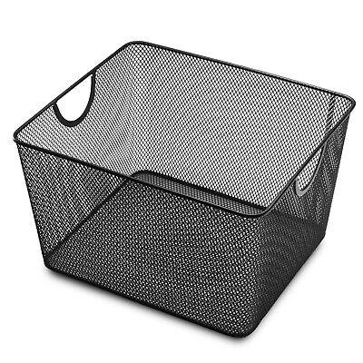 YbmHome Household Wire Mesh Open Bin Shelf Storage Basket Organizer Black 1041vc ()
