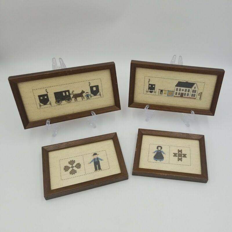 Set of 4 Vintage Primitive Cross Stitch Framed Amish, Horse & Buggy, Farm Home