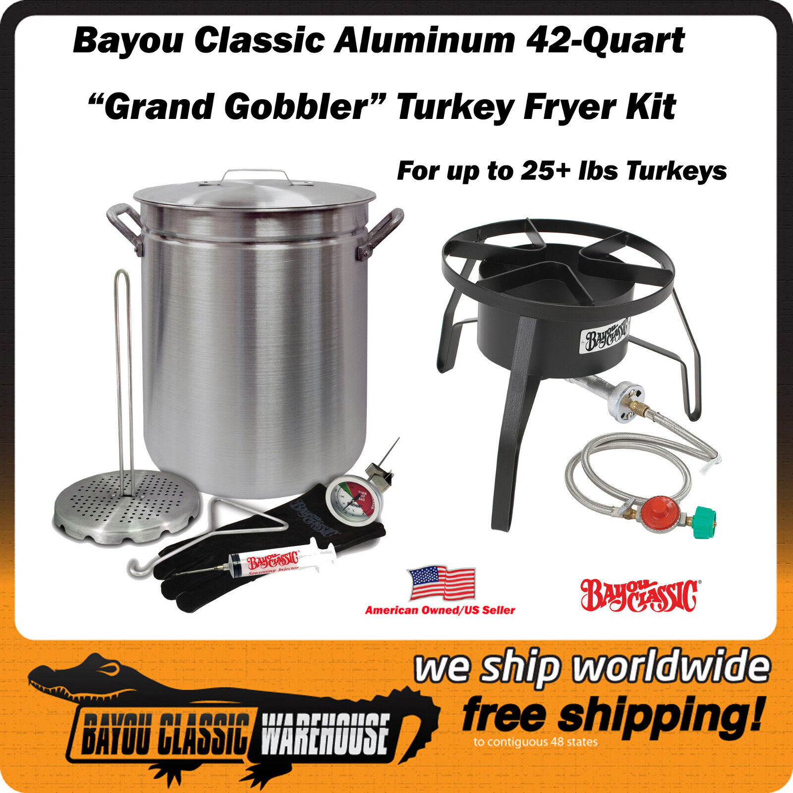 "Turkey Deep Fryer Kit ""GRAND GOBBLER"" For 25+ lbs Turkeys Ba"