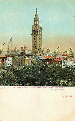 NYC MANHATTAN MADISON SQUARE GARDEN BIRD'S-EYE VIEW VINTAGE P/C
