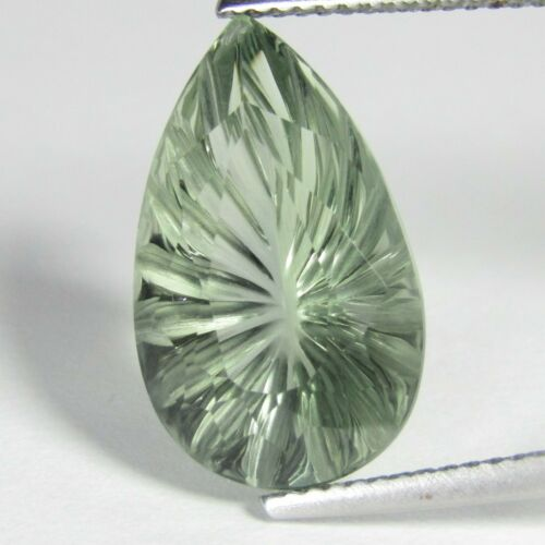 7.96Cts Natural Gorgeous Green Amethyst (Prasiolite) Pear Carving Loose Gem VDO