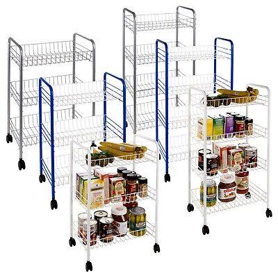 3 4 Tier Metal Kitchen Trolley Fruit & Vegetable Basket Food Storage Wheels Cart ()