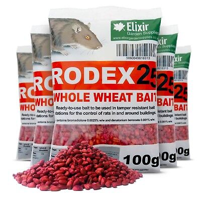 Rodex25 Whole Wheat Rat Poison, Strongest Available Online 100 x 100g Sachets