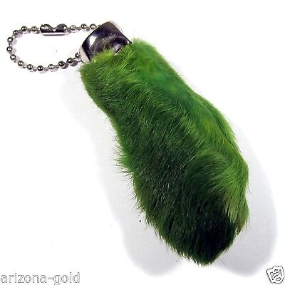 Real GREEN Rabbit Foot Lucky Keychain Vraie Patte de Lapin Chanceuse for sale  Tarzana