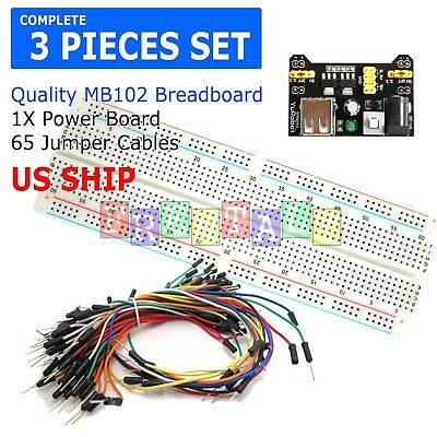 Mb-102 830 Point Prototype Pcb Breadboard65pcs Jump Cable Wirespower Supply