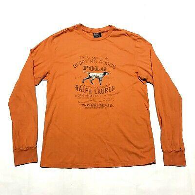 Vintage Ralph Lauren Polo Sportsman Dog Tee Shirt Men's Small Long Sleeve