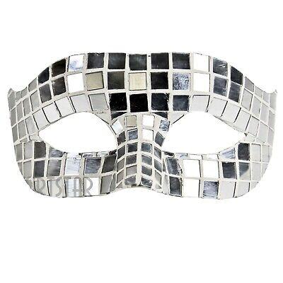 Mirrored Venetian Mask White Silver Masquerade Costume Ball Bride Disco Wedding