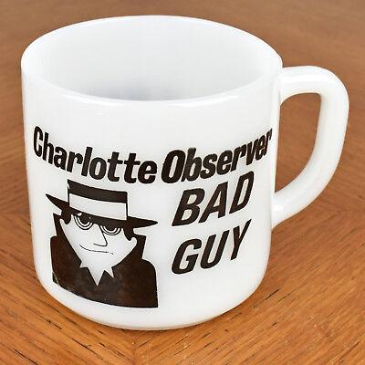Vtg Charlotte Observer Newspaper Bad Guy Federal Milk Glass Coffee Tea Mug Cup