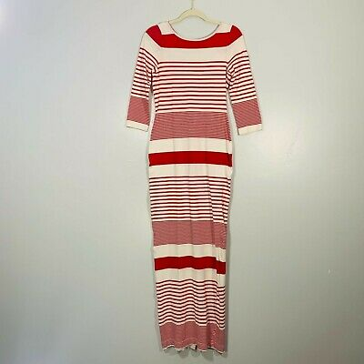 Opening Ceremony White Red Striped Stretchy Quarter Sleeve Low Back Long Comfy