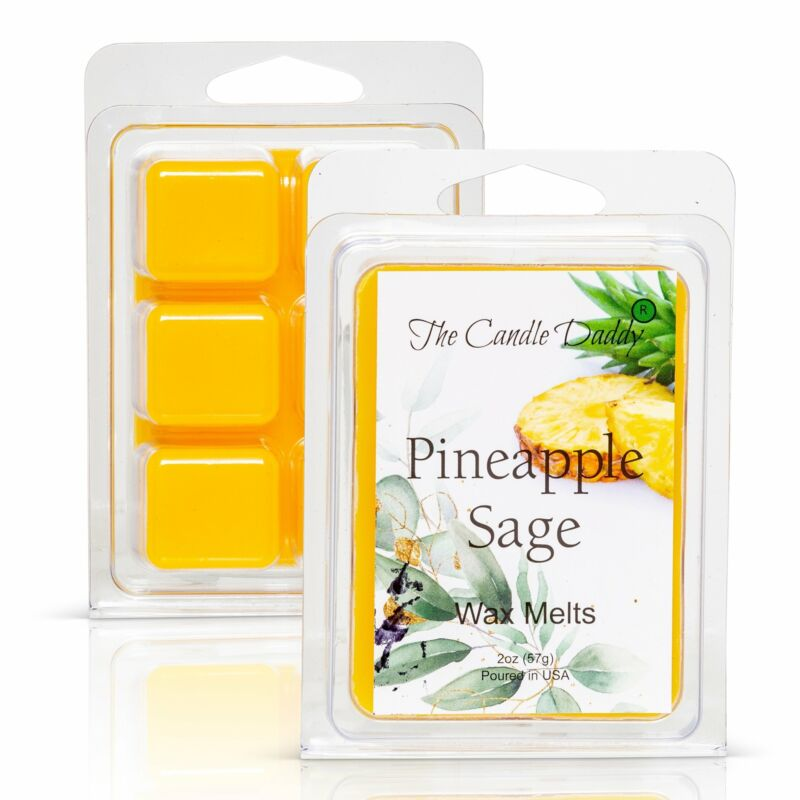 Pineapple Sage - Tropical Herbal Scented Melt- Maximum Scent Wax Cubes/Melts- 1