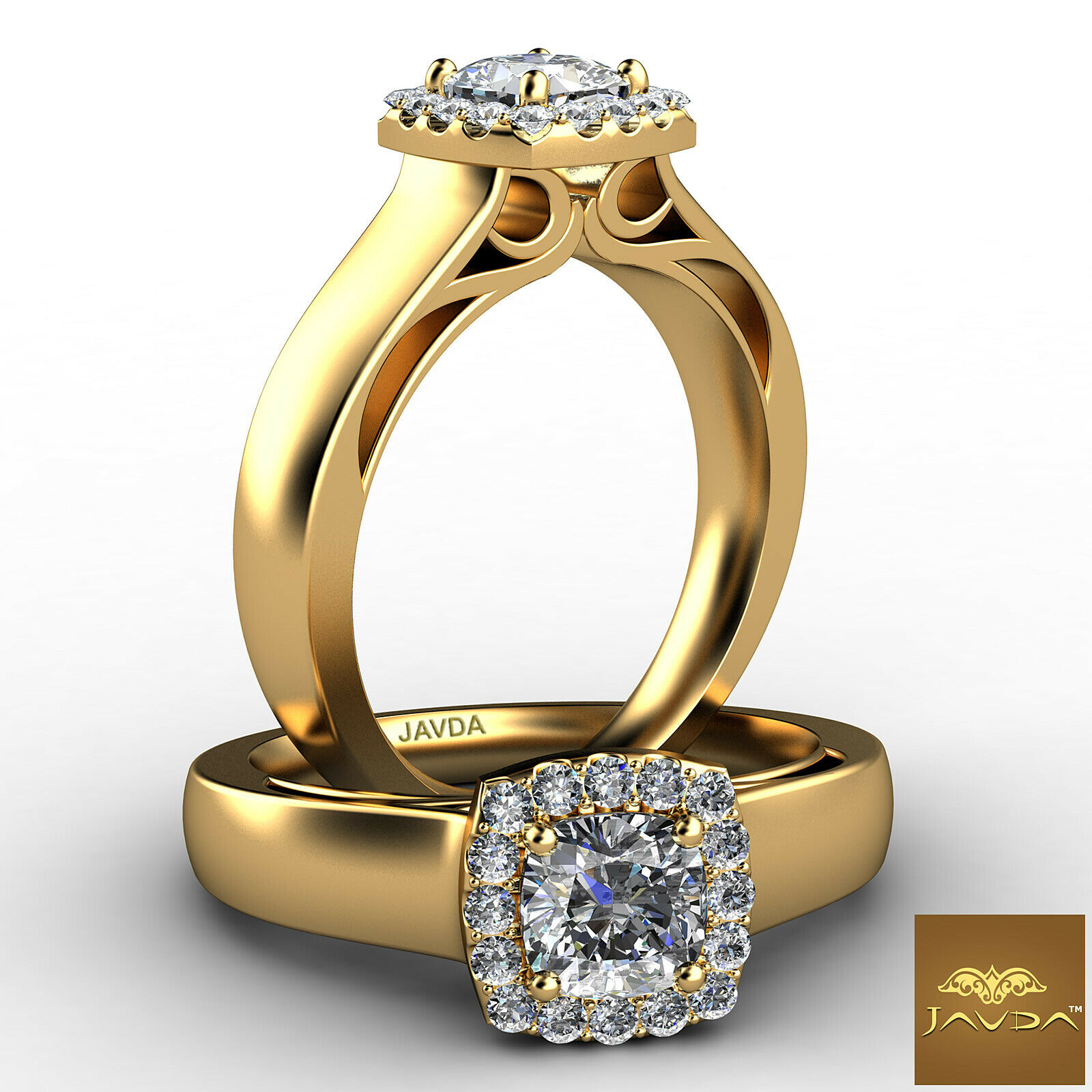 Halo Filigree Shank Cushion Diamond Engagement Prong Set Ring GIA G VVS2 0.70Ct