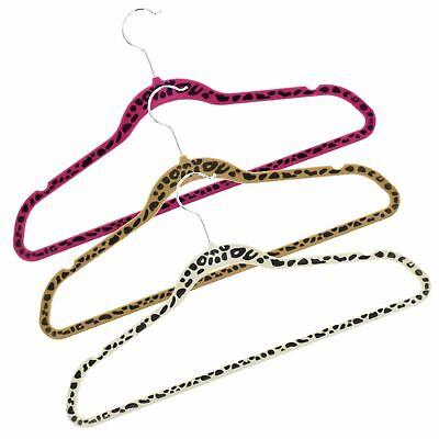 New Leopard Print Velvet Non Slip Flocked Coat Hangers Clothes Trouser Hanging  Leopard Print Slip