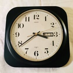 Vintage Square Seiko Wall Clock German Day Date Made In Japan Quartz