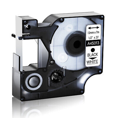 Compatible Black On White Dymo D1 45013 S0720530 12mm Labelmanager Label Tape