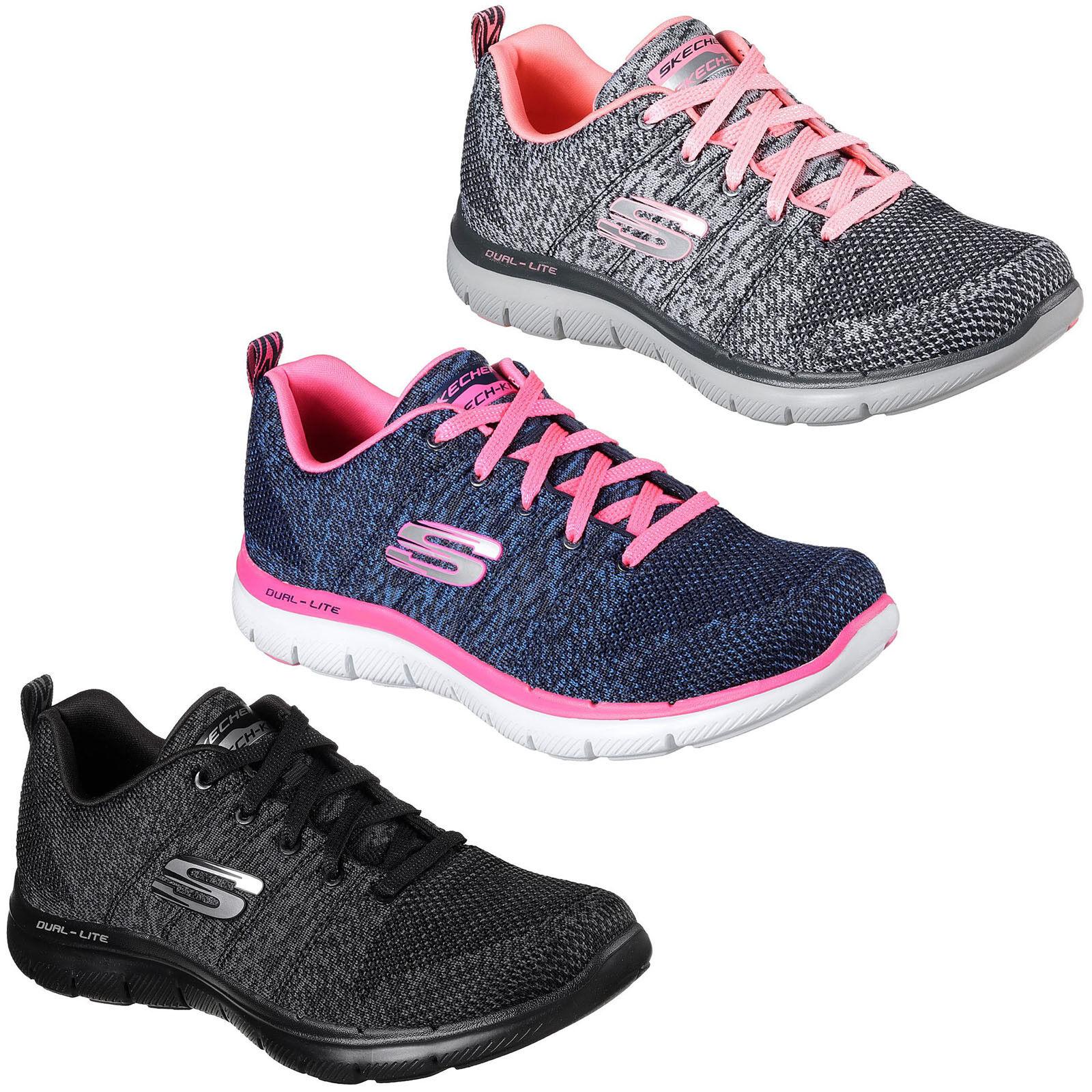 Skechers Flex Appeal 2.0 High Energy Women Charcoal Trainers UK Size 3-8