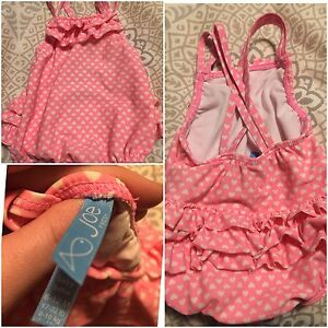 Joe Fresh Pink Heart Bathing Suit with Ruffles