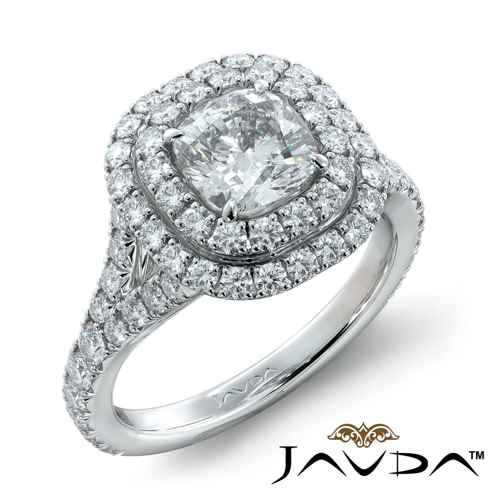 2.41ctw French V Cut Double Halo Cushion Diamond Engagement Ring GIA G-VVS2 Gold