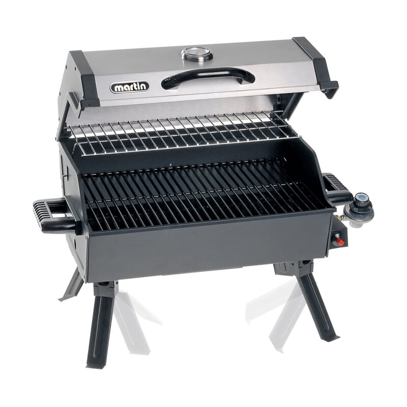 Martin 14,000 BTU Portable Propane Bbq Gas Grill with Support Legs & Grease Pan