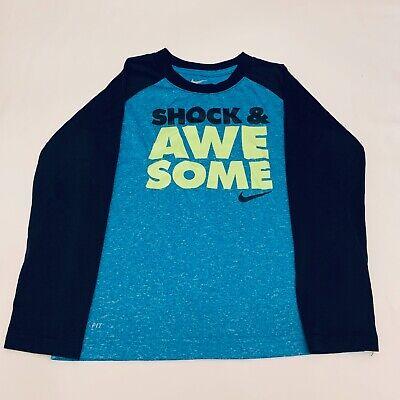 Awesome Long Sleeve T-shirt - Nike Dri-Fit Shock & Awesome Long Sleeve Blue T-Shirt Size 7