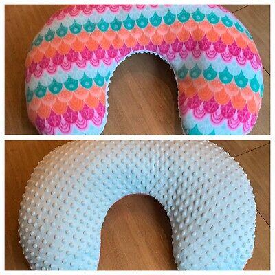 SALE Boppy Nursing Pillow Cover Handmade Rainbow Fleece Blue Minky