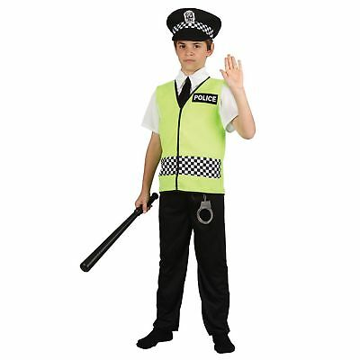 Policeman Cop Uniform Law Robbers Police Childs Kids Boys Fancy Dress Costume