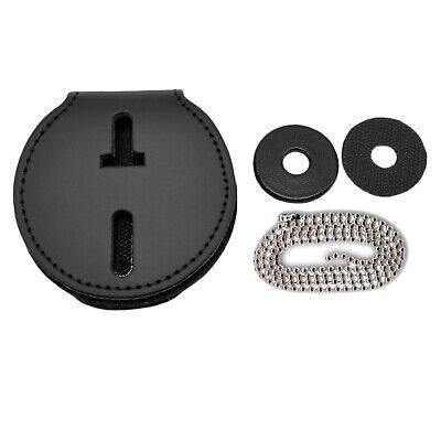 Universal Round Badge Holder Leather Clip On Belt Neck Hanger Chain Police CWP - Leather Round Clip