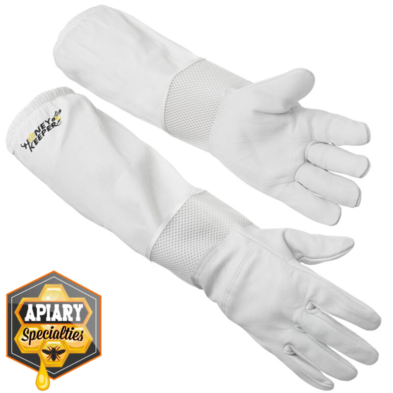 Beekeeping Ventilated Gloves Goatskin Leather, Canvas Sleeve Elastic Cuff, Sm
