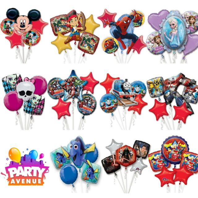 Balloon Bouquet Helium Foil 5pk Birthday Party Table Decorations Centrepiece