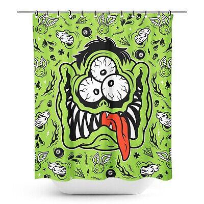 Sourpuss Fink Monster Face Halloween Gothic Punk Spooky Shower Curtain SPSC28 - Spooky Halloween Font