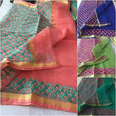 Kota Doria Cotton Saree - Rajasthani Kota Doria Pearl Saree Indian Summer Cotton Embroidery Aari Work Sari