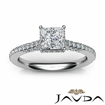 Circa Halo Bridge Accent Princess Diamond Engagement Ring GIA F Color VS1 1.15Ct 3
