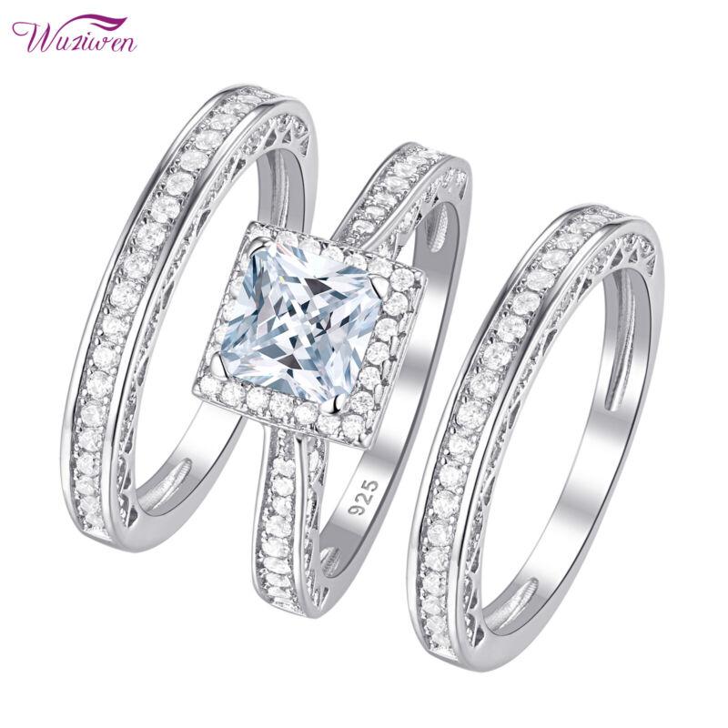 Wuziwen 3pcs Engagement Wedding Ring Set 925 Sterling Silver Princess Aaaa Cz