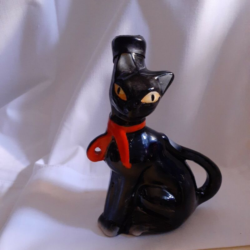 Borghini Lacrima Christi White Wine Black Cat Decanter - Italy -