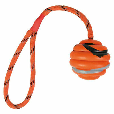 Trixie Orange Wavy Natural Rubber Ball On Rope, 30cm Nylon Strap 3cm Rubber Ball