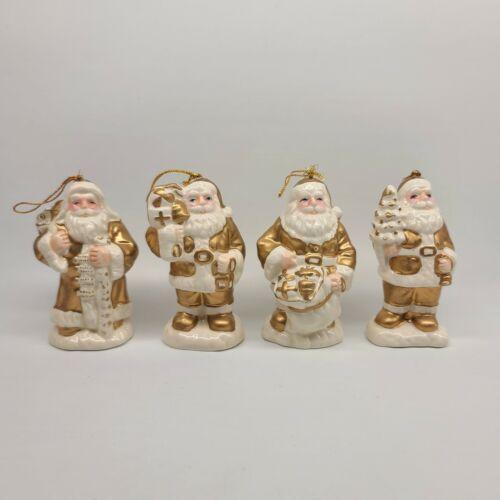 "White and Gold Ceramic Santa Ornaments 4"""
