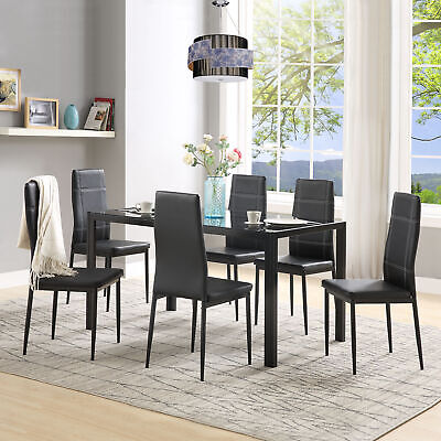 7PCS Dinning Glass Table Chairs Set Leather Kitchen Metal Frame Furniture Black ()